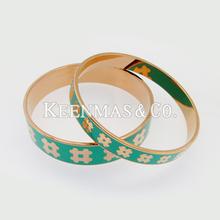 Fashion enamel bangle / Europe shinning enamel bangles / gold pattern , green enamel color