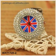English flag leather diamond Women Wrist Watch Flag Classic Crystal