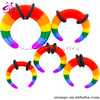 Rainbow Acrylic Buffalo Ear Taper with O-rings ear stretcher earrings
