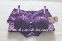 Satin purple underwear panty bra bra set sexy lingerie