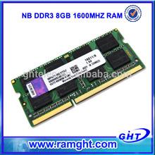 ETT original chips ram memory 8gb ddr3 1600 laptop with Low density
