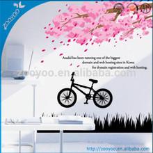 ZY2171 removable pvc flowers tree bike peel off wall sticker modern wall decals