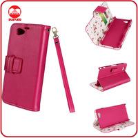 RF Factory Wholesale Floral Fabric Premium Leather Smart Wallet Flip Xperia Z1 Compact Case
