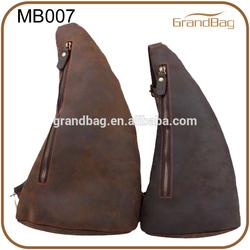 vintage men's leather chest pack / leather sling bag