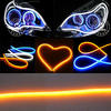 New universal Flexible LED Daytime Running Lights Dual Colors White/yellow 60/85cm flexible led drl