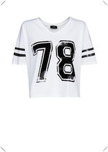 2014 new arrival fashion varsity college cropped T - shirts, crop tops for fashion girl