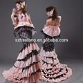 ht400elegant strapless sirena caliente de color rosa y negro nuevo modelo 2014 vestido de novia