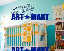 Housewares Baby Kid Sleeping with Teddy Bear Good Hight Home Wall Vinyl Decal Sticker Kids Nursery Baby Room Decor NO.9832