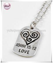 Burnished Silver Tone / Lead&nickel Compliant / Metal / Message 'john Love 15:12'w/heart Pendant / Necklace