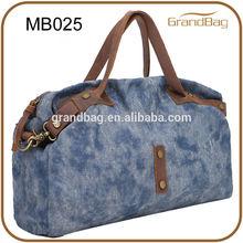 New fashion men's canvas duffel bags / leather handle canvas shoulder bag
