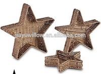 Silver Star shape Little wicker basket for decoration