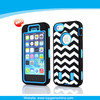 Wave Pattern Three Layers Silicone & PC Cover Hybrid Hard Case For Apple iPhone 5 5S