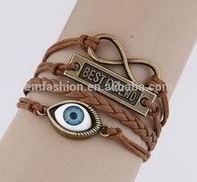 Fashion New Evil Eye Best Friend Letters Charm Handmade Braided Leather Bracelet