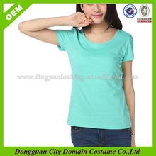 Plain colour cotton round neck t shirts, cheap Korean t shirts for ladies, 2014 Korea t-shirt lady fashion