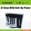 Roll Up Digital Midi Electronic Soft Keyboard Piano--61keys/ roll up electric piano keyboard/ Portable Roll Piano keyboard