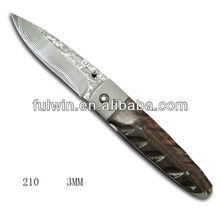 Custom damascus steel folding pocket knife