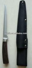 Professional wood handle fishing knife with leather sheath