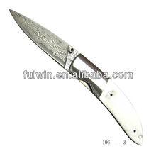Custom damascus folding pocket knife