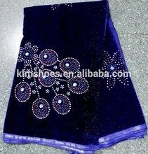 2014 high quality nigerian velvet lace fabric/ velvet material /dresses for women wedding royal blue