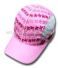 Girl's embroidered mesh side baseball caps pink children caps