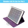Classical Simple Rhombus Grid Folding Colorful Smart Cover PU Leather Case For iPad 5 U1704-152