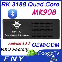 mini pc 2G RAM 8G ROM RK3188 Android Media Player Quad Core Mk908 smart android tv box