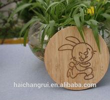 Laser engrave lovely rabbit/ bunny image round bamboo coaster
