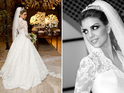 2014 New Design Vestidos De Noiva White Long Sleeves High Collar Vintage Lace A Line Bridal Gown Wedding Dress in Dubai