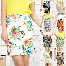 Women's Summer Short Mini Pencil Skirt Elastic High Waist Lady Skirt Floral Skirt 10 Types