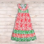 Adorable Sleeveless Infant Baby's Red $ Green Flower Style Cotton Long Dress Handmade Kid's Garment