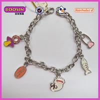 Cheap price wholesale flat metal pendant bracelet logo engraved(31221)
