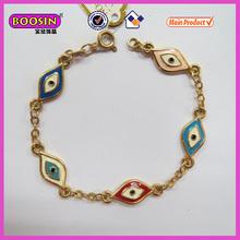 Gold chain bracelet/colorful evil eye charm round bracelet(31130)