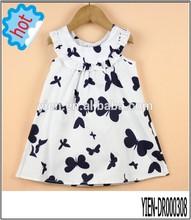 Cute Beauty Butterfly Print Baby Dress Summer Newest Cotton Print Girls Dress