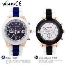 Vogue Two Tone Strap Women Watch case silicone quartz watch