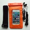 Wholesale price orange pvc waterproofing sports bag with headphone jack non-phthalate