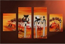 indian landscape paintings 4 panels handmade from xiamen factory