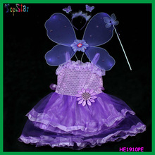 Purple Kids Fairy Girl Stage Costume Butterfly Wing Dress
