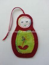 2015 new fashion handmade wholesale Russian Matryoshka decorations hanging fabric gift felt crochet Christmas doll made in China