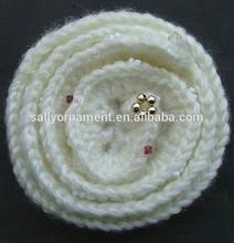 Lovely light yellow crochet rose flower applique