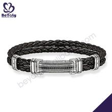 925 sterling silver wholesale magnetic leather bracelet