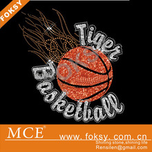 hot sale tiger rhinestone transfer design, basketball rhinestone transfer
