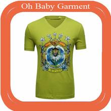 OEM Hot drilling High fashion Printing silk V-neck t shirt