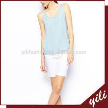 New design sleeveless blue sleeveless ladies tops images