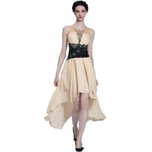 DORSQUEEN Dropship/retail in stock beaded black lace evening dress high_low beige short puffy prom cocktail dress 2014