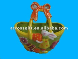 Colorful painted basket ceramic for easter