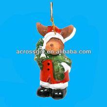 Santa Moose Ceramic Christmas Ornament