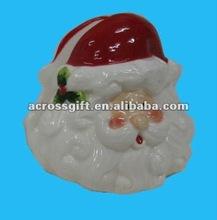 painted ceramic santa head shape menu holder