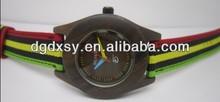 Wood style ladie's round watch brown strap quartz mechanism