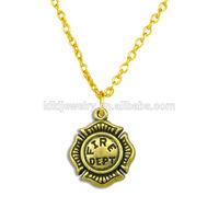 cheap wholesale fire dept medal pendant antique bronze necklace