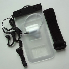 Free shipping transparent pvc travelling waterproof case for lg l6 mobile with headphone jack